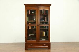 Victorian Antique Carved Walnut Library Bookcase Wavy Glass Doors 30974