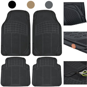 Car Floor Mats 4 Pieces Set Rubber Heavy Duty Protection Interior Trimmable