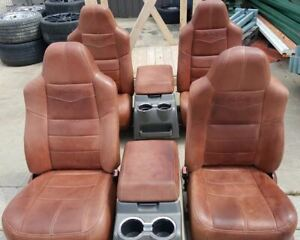 08 10 Ford F350 F250 King Ranch Leather Bucket Seat Set With Consoles