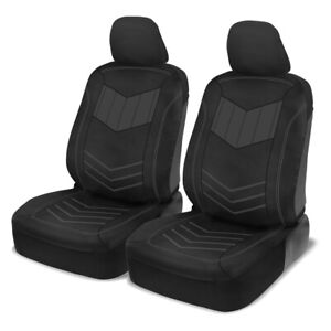 Front Car Seat Covers Motor Trend Pu Leather Charcoal Sideless Set Truck Suv Van