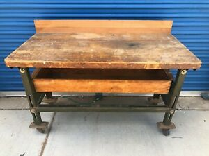 Vintage Rustic Workbench Antique Industrial Wood Iron Table Desk Factory