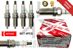 4pcs Toyota 90919 01233 Denso 3417 Sk16hr11 Iridium Long Life Oem Spark Plugs