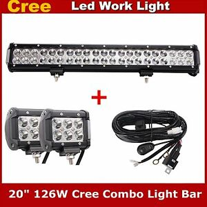 20inch 126w Led Light Bar Offroad Ford Fog Parts 4inch 18w Work Lamp Wiring Kit