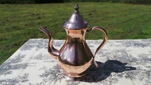 French Antique Normandy Coffee Pot With Copper Handle Wooden Finial