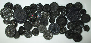 Large Lot Vintage Black Glass Flower Buttons Luster Paint Imitation Fabric