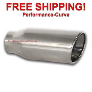 Polished Stainless Steel Exhaust Tip Dw Resonated 2 25 In 3 5 Out 8 Long