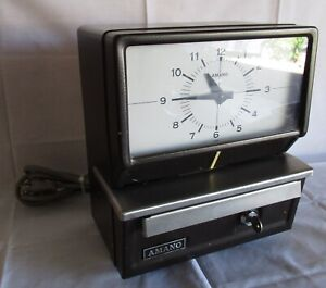 Vintage Amano Time Card Clock With Key Model 5436 in Excellent Condition