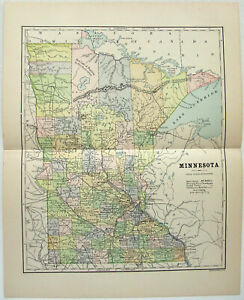 Original 1887 Map Of Minnesota By Phillips Hunt Antique