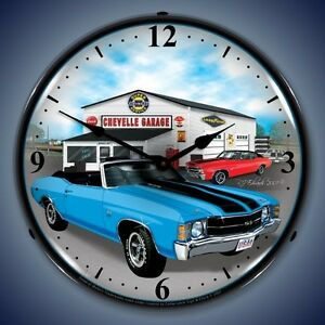 New Old 1971 Chevrolet Chevelle Lighted Clock 150 Muscle Car Clocks Available