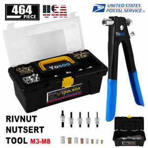 Heavy Duty 464 Pc Blind Rivet Nut Rivnut Nutsert Insert Tool Rivnuts Set Kit