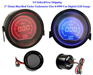 2 52mm Blue red Tacho Tachometer Elec 0 9999 Car Digital Led Gauge Meter Us
