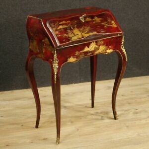 Fore French Furniture Secretary Desk Secr Taire Wood Lacquered Chinoiserie