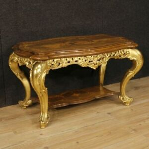 Small Table Italian Furniture Table Living Room Wood Inlaid Golden Antique Style