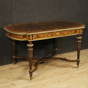 Table Secretary Desk Antique French Furniture Inlaid Wood Bronze Living Room 800