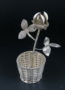 Lovely Signed Villasana Taxco Mexican Sterling Silver Rose Flower In Basket