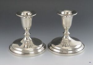 Pair Antique C1915 Sterling Silver Watson Classic Form Short Candlesticks