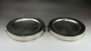 Pair Antique C1815 English Sheffield Silver Plate Warming Dishes Warmers