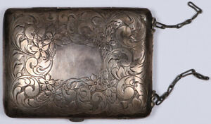 Antique Vintage Sterling Silver Purse Wallet Victorian Art W Fitted Coin Holes