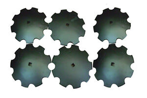 16 Notched Disc Harrow Blades Scalloped Heavy Duty 1 Or 1 1 8 Sq lot Of 6
