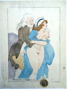 18c Thomas Rowlandson Signed Erotica Print Helpless Desire Fumble 1756 1827