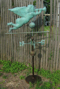 Vintage Huge Cooper Angel Weathervane On Stand 54 Tall