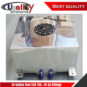 10 Gallon Polished Aluminum Fabricated Oem Fuel Cell 38l 10 An Fittings