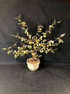 Large Vintage Asian Bonsai Agate Glass Tree With Jade Colour Leaves Ref Y635