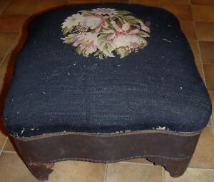 Antique 1800s Embroidered Foot Stool Primitive Ottoman Horse Hair Needlepoint