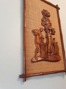 Mid Century Modern Framed Wood Art Carved Sculpture Tiki Bar Mcm Witco Style