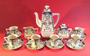 Hand Painted Yellow Boho Tea Set Teapot Sugar Creamer 6 Cups Saucers Japan