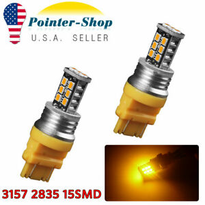 2x Amber Yellow 3157 3156 2835chip 15w Led Signal Parking Light Bulbs 12v