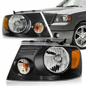 For 2004 2008 Ford F 150 Black Housing Clear Lens Headlights W Amber Reflector