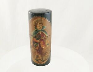 Antique French Vernis Martin Style Painting Of Boy And Dog Needle Case