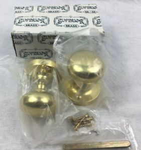 Solid Brass Door Knob Set With Affixed Backing Plate New Old Stock By Superior