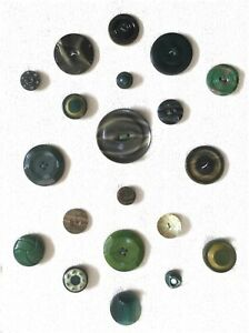 Card Of 20 Shades Of Green Celluloid Tight Top Antique Buttons Ready To Frame