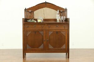 Art Deco Oak English Sideboard Server Bar Cabinet Buffet Mirror 31011
