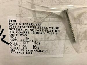 12x2 1 2 316 Marine Grade Stainless Steel Bulk Screws Deck Wood Case Lot