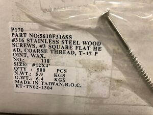 12x4 316 Marine Grade Stainless Steel Bulk Screws Deck Wood Case Lot
