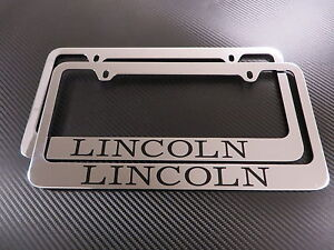 2pcs Lincoln Chrome Metal License Plate Frame Front Rear