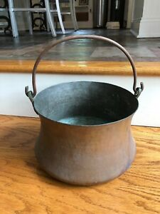 Antique Hammered Copper Cauldron Bucket Cooking Pot 10 Diameter 6 High