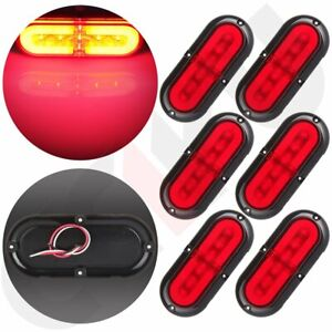 6x 6 Red 21 Led Trailer Oval Stop Turn Tail Light Truck Marine Suface Mount 12v