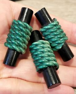 Set Of 3 Vintage Black Green Celluloid Toggle Buttons Extruded