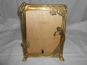 Vintage Brass Standing Reflections Mirror Picture 10 X13 Frame Semi Nude Woman