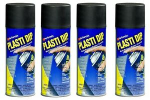 4 Plasti Dip Black Matte Liquid Wrap Removable Rubber Coating Aerosol Can