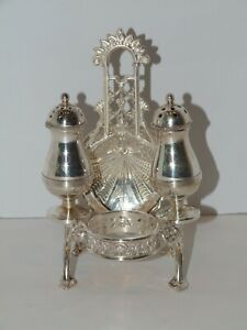 Antique Victorian Silver Plated Napkin Ring Condiment Set