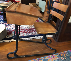 Vintage School Desk W Attached Chair W Inkwell Original Wood Iron Vg Cond