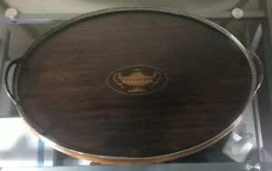Antique Sterling Silver Service Tray W Inlaid Wood Glass Handles Sz 18 X13