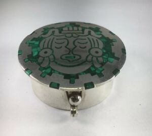 Vintage 950 Sterling Silver Genuine Crushed Malachite Inlay Trinket Box M118