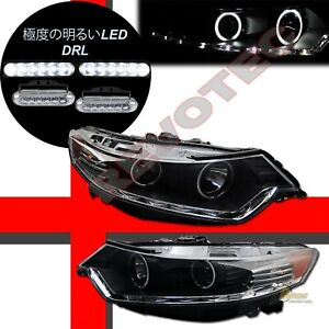 Black G3 Led Halo Projector Headlights Led Drl For 09 10 11 Acura Tsx
