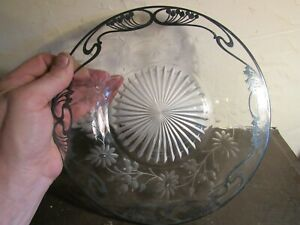 Antique Art Nouveau Sterling Silver Overlay Cut Glass Serving Plate